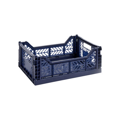 Tous les designers - Panier Colour Crate Medium / 40 x 30 cm - Hay - Bleu marine - Polypropylène