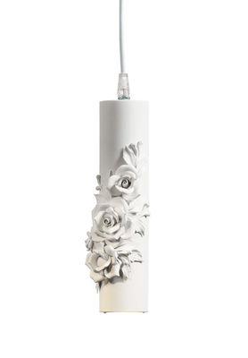 Capodimonte Pendelleuchte / Keramik - Ø 6 cm x H 26 cm - Karman - Weiß mattiert