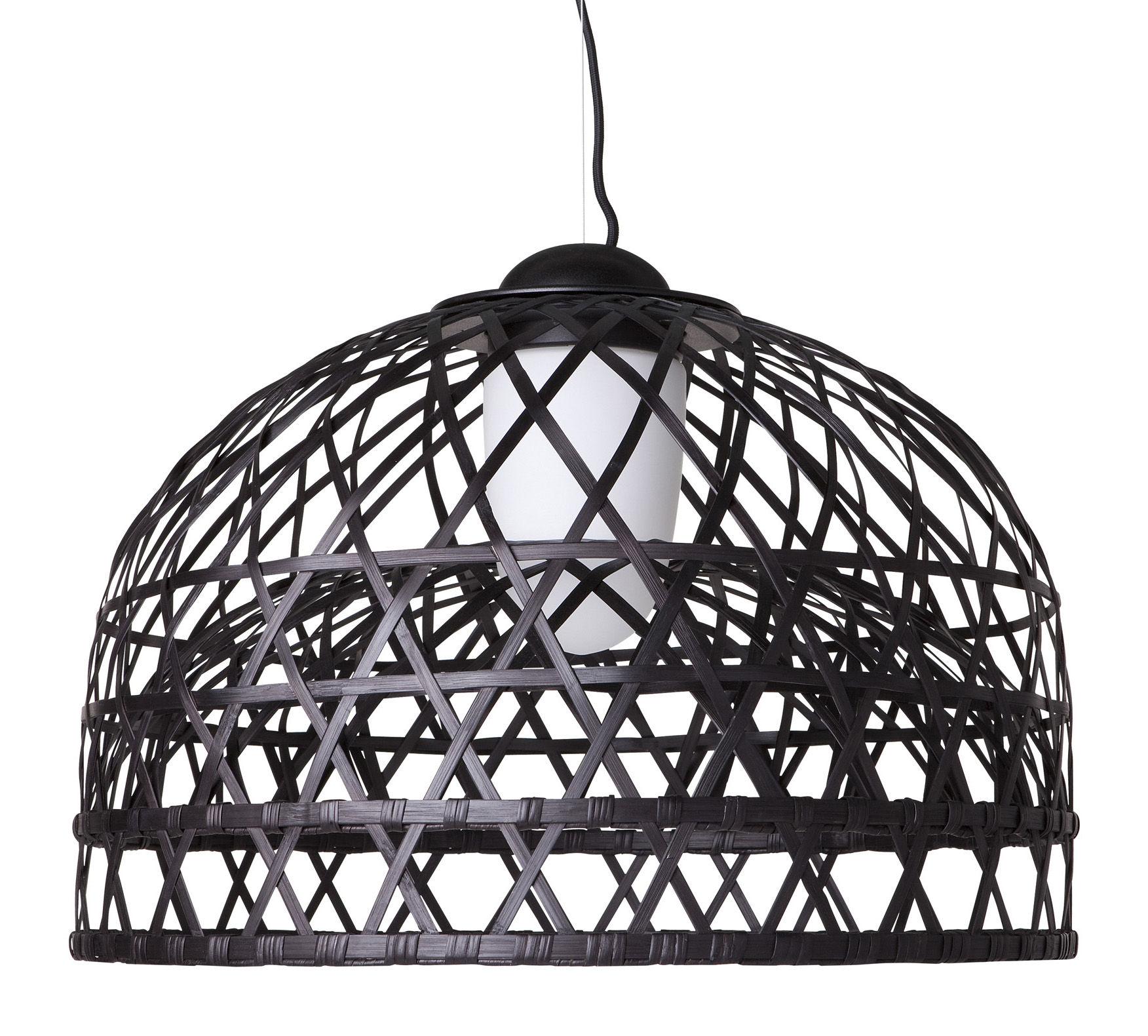 Leuchten - Pendelleuchten - Emperor Pendelleuchte small - Moooi - Ø 60 cm - schwarz - Aluminium, Rattan