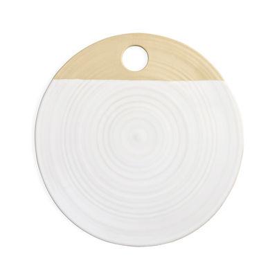 Arts de la table - Plats - Planche à découper / Assiette de présentation - Ø 23,5 / Grès  bicolore naturel - Au Printemps Paris - Blanc / Bande naturelle - Grès