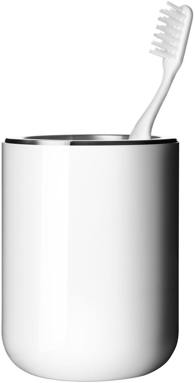 Déco - Salle de bains - Porte-brosse à dents - Menu - Blanc - Acier inoxydable, Plastique