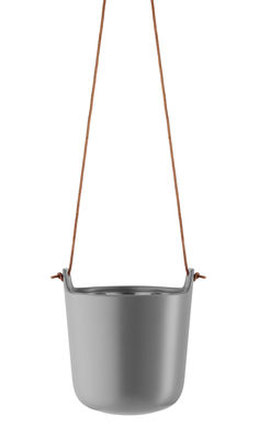 Déco - Pots et plantes - Pot suspendu / Réserve d'eau - Grès - Eva Solo - Gris nordique / Cuir naturel - Cuir, Grès, Plastique