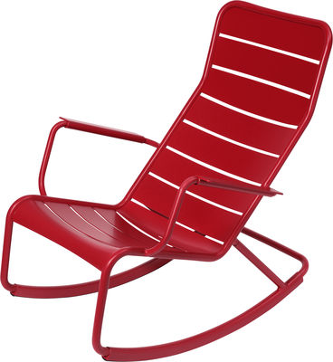 Rocking chair Luxembourg / Aluminium - Fermob coquelicot en métal