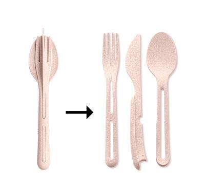 Tableware - Cutlery - Klikk Set - / 3 clip-together cutlery items - Organic plastic by Koziol - Organic pink - Organic plastic