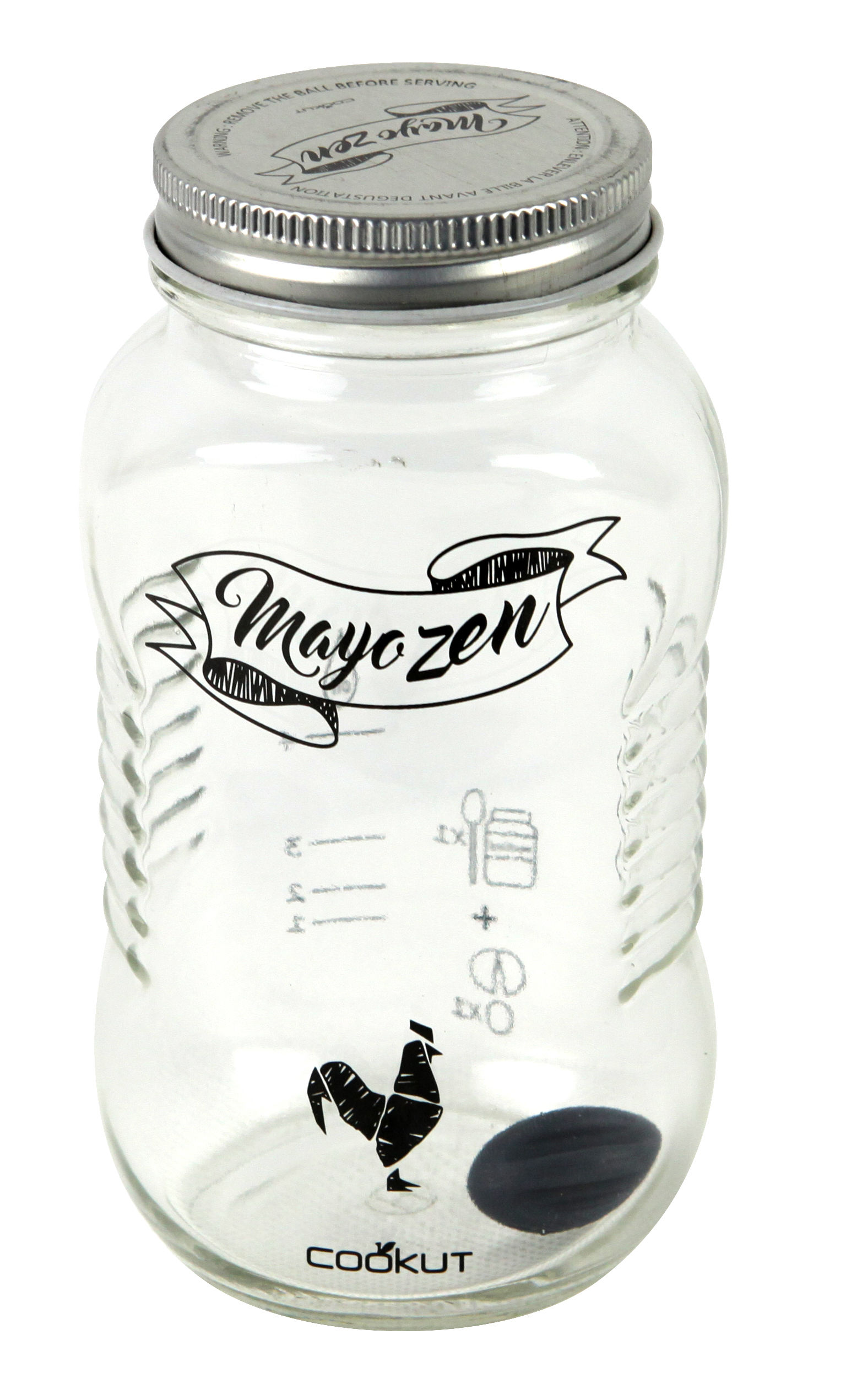 Kitchenware - Kitchen Equipment - Mayozen Shaker - For homemade mayonnaise by Cookut - Transparent / Silver - Glass, Metal, Silicone