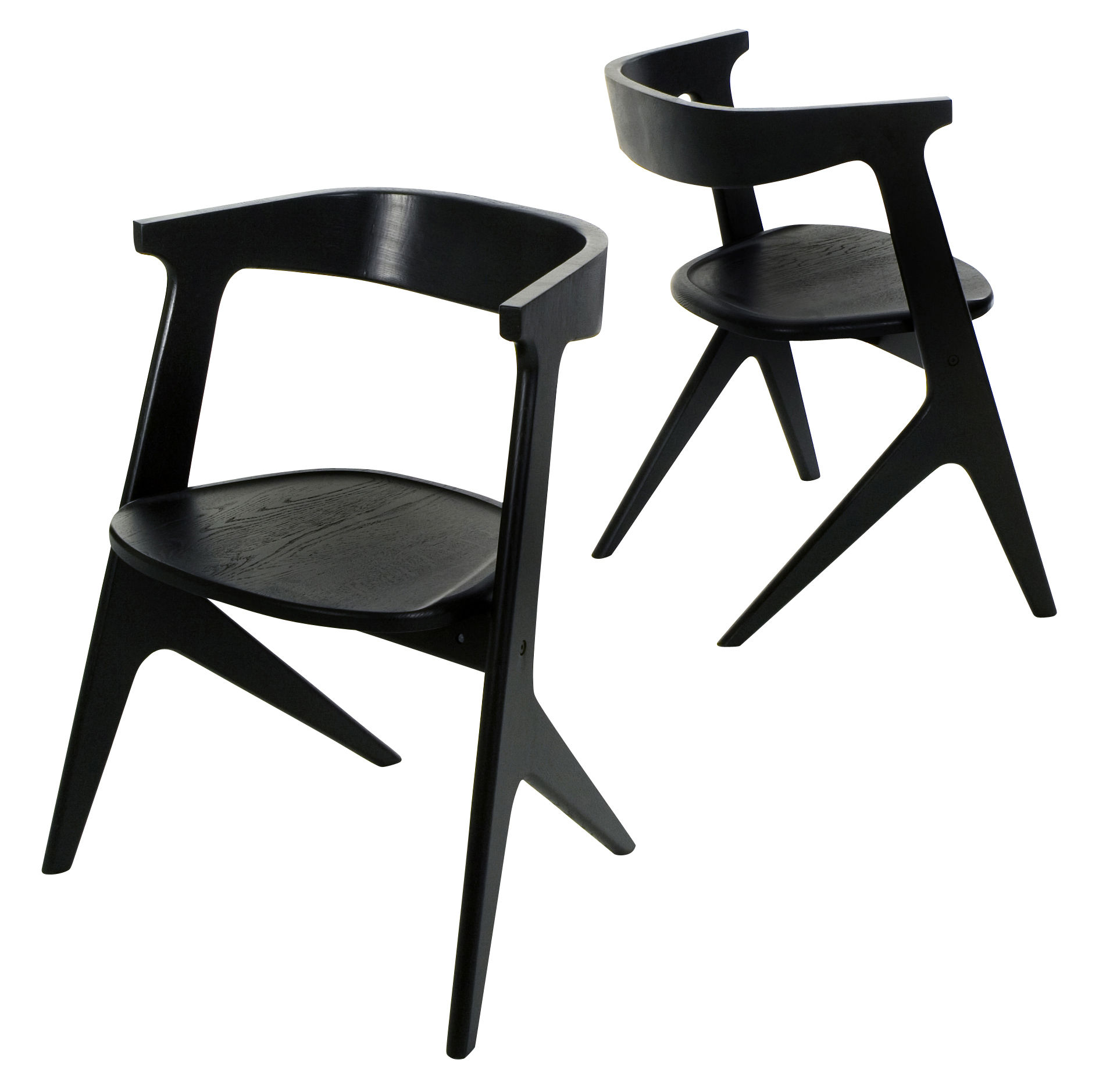 Furniture - Chairs - Slab Stacking chair - Wood by Tom Dixon - Black lacquer - Painted oak
