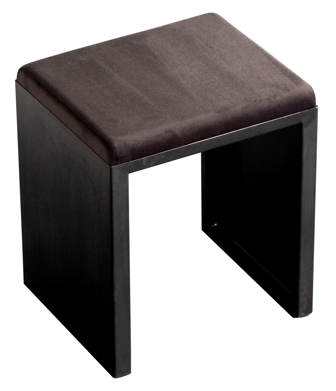 Furniture - Stools - Irony Stool by Zeus - H 48 cm - Leather, Phosphated steel