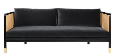 Furniture - Sofas - Cannage Straight sofa - / L 210 cm - Velvet by RED Edition - Chic grey / Black & natural -  Plumes, High resilience foam, Rattan, Steel, Tinted beechwood, Velvet