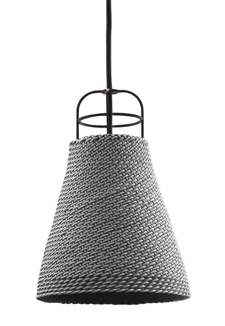 Luminaire - Suspensions - Suspension Sarn 2 / Ø 18 cm - Palme tressée - Spécimen Editions - Gris - Acier, Palme tressée