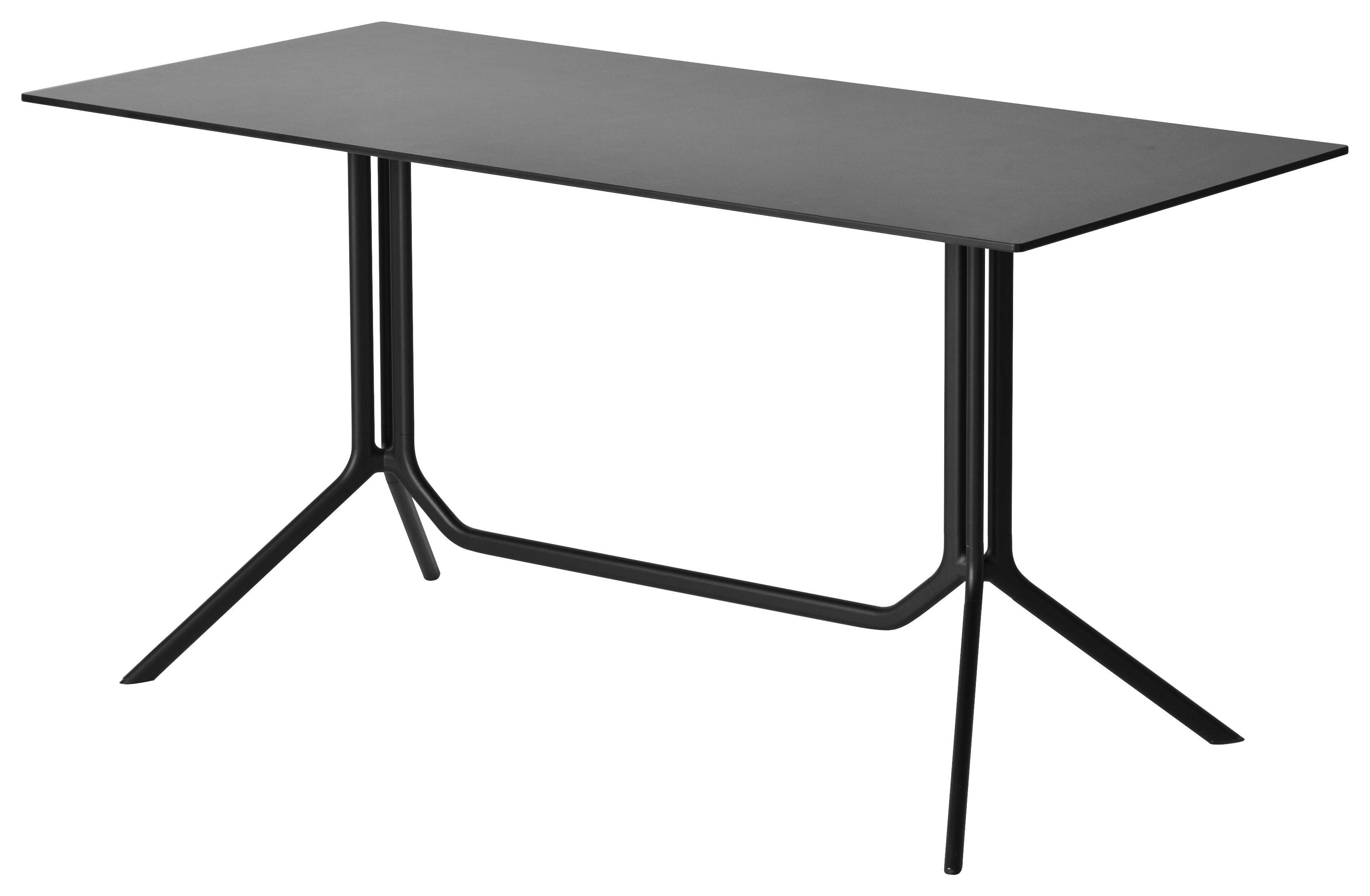 Outdoor - Tavoli  - Tavolo pieghevole Poule double - / 120 x 60 cm di Kristalia - Laminato nero - Alluminio laccato a polvere, Stratificato