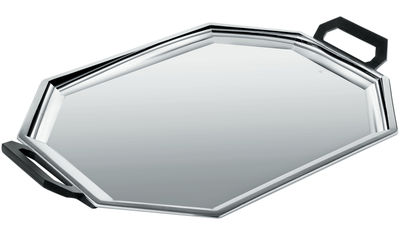 Tableware - Trays - Memories from the future - Ottagonale Tray by Alessi - Polished steel - Black - Polished steel