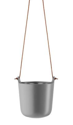 Interni - Vasi e Piante - Vaso sospeso - / Riserva d'acqua - Grès di Eva Solo - Grigio nordico / Cuoio naturale - Gres, Pelle, Plastica