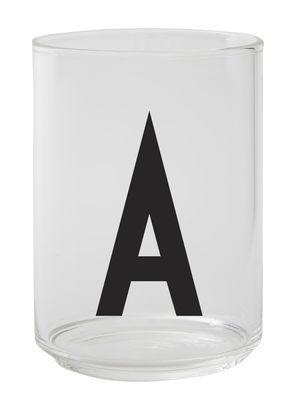 Verre Arne Jacobsen / Verre borosilicaté - Lettre A - Design Letters transparent en verre