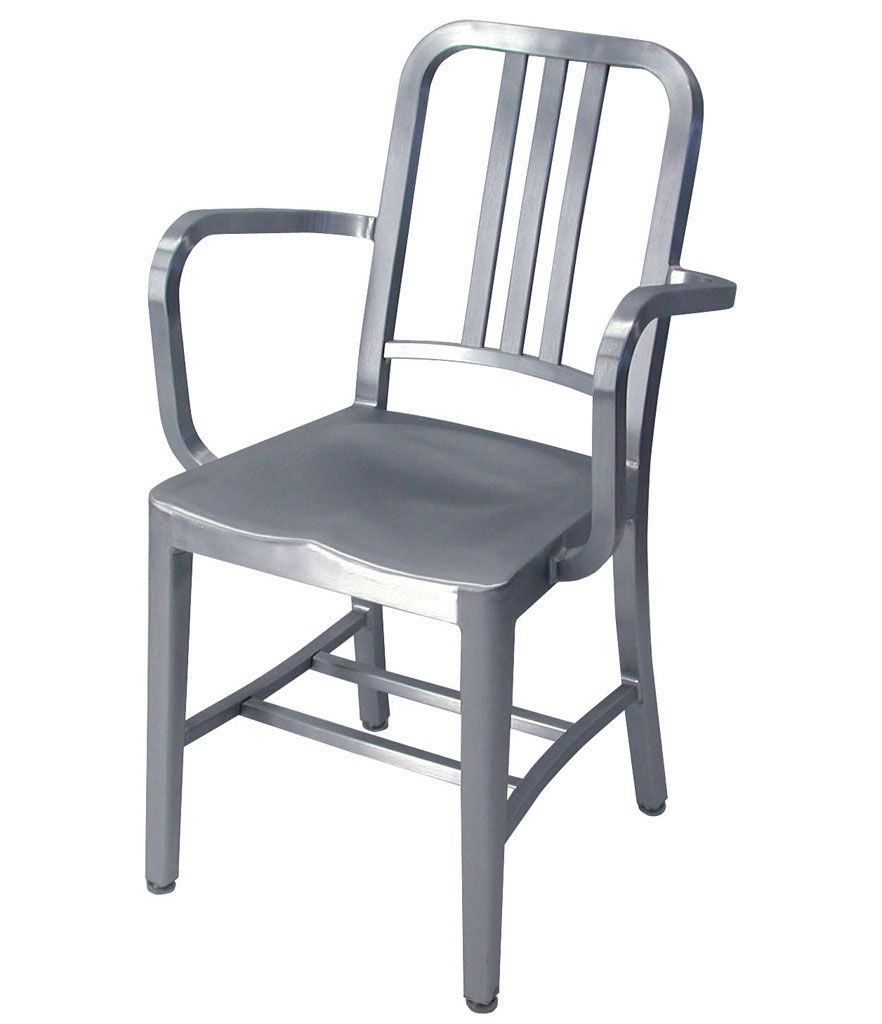 Furniture - Chairs - Navy Outdoor Armchair - Aluminium by Emeco - Brushed aluminium - Recycled brushed aluminium