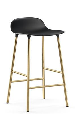 Furniture - Bar Stools - Form Bar stool - / H 65 cm – Brass foot by Normann Copenhagen - Black / Brass - Brass plated steel, Polypropylene