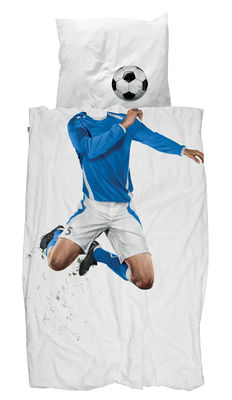 Decoration - Children's Home Accessories - Soccer Champ Bedlinen set for 1 person - 135 x 200 cm by Snurk - Footballer / Blue - Cotton percale