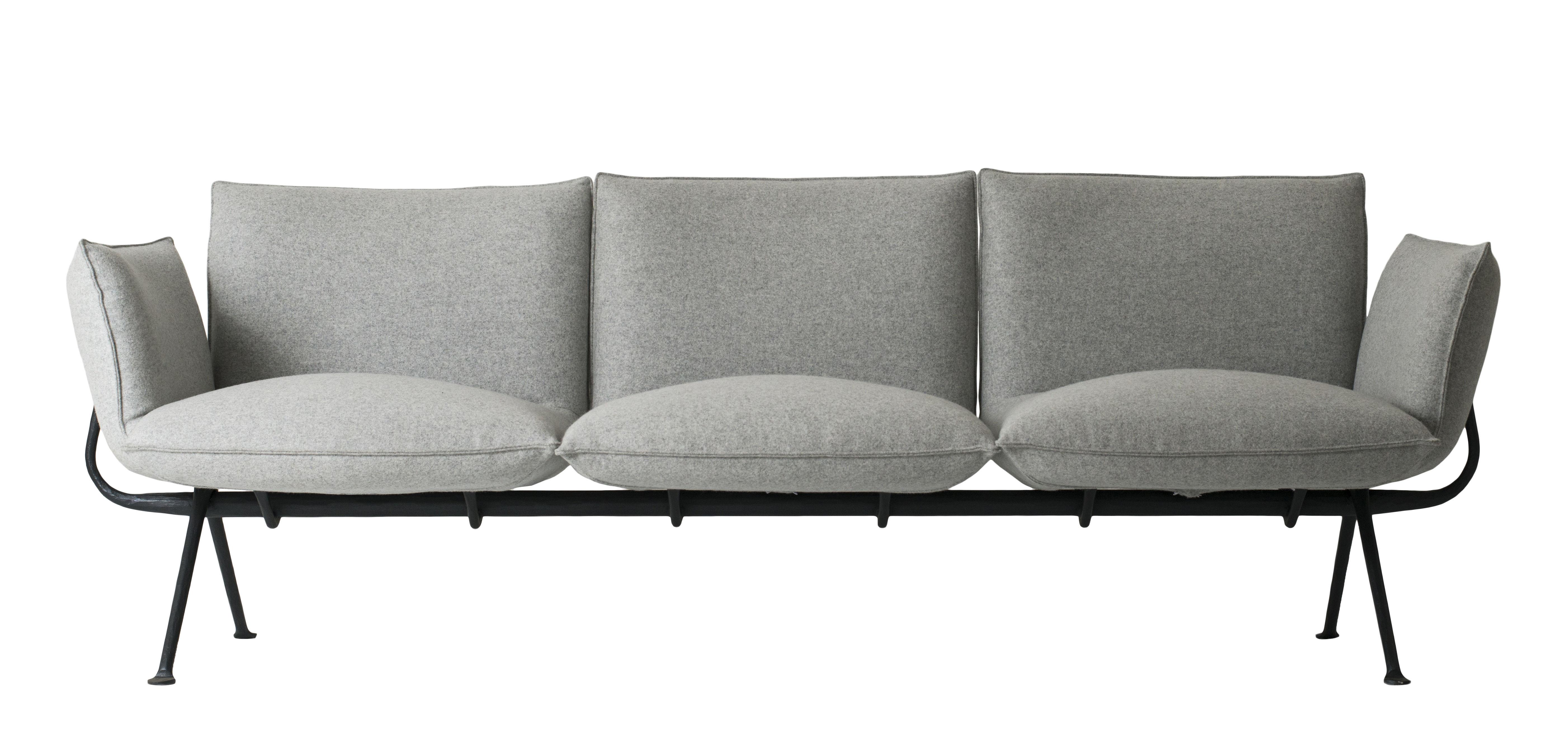 canap droit officina 3 places tissu l 213 cm tissu gris clair structure noire magis. Black Bedroom Furniture Sets. Home Design Ideas