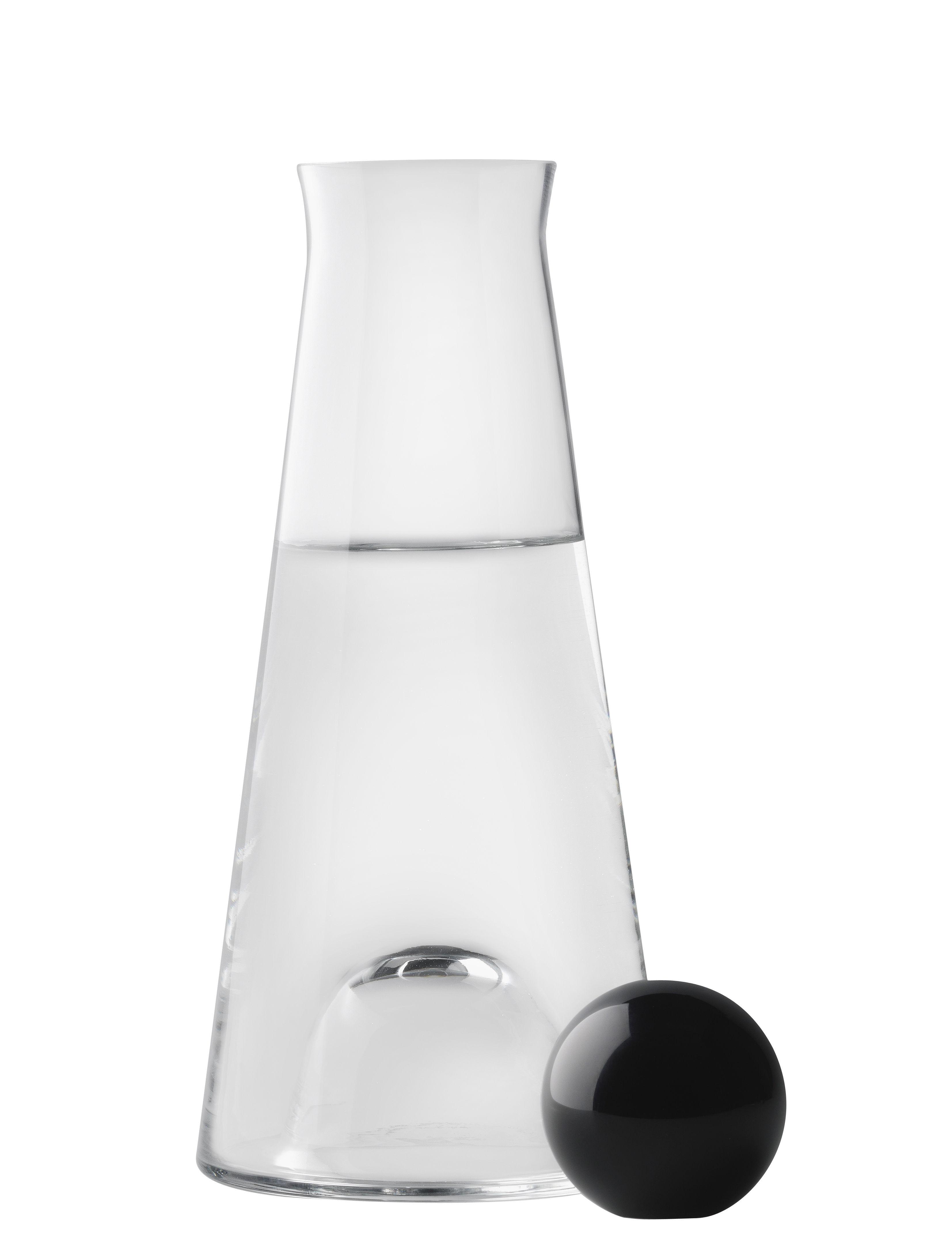 Arts de la table - Carafes et décanteurs - Carafe Fia 1 L - Design House Stockholm - Transparent / Noir - Cristal, Verre