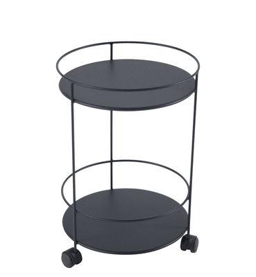Arredamento - Tavolini  - Carrello Guinguette - / con ruote - Ø 40 x H 62 cm di Fermob - Carbone - Acciaio laccato