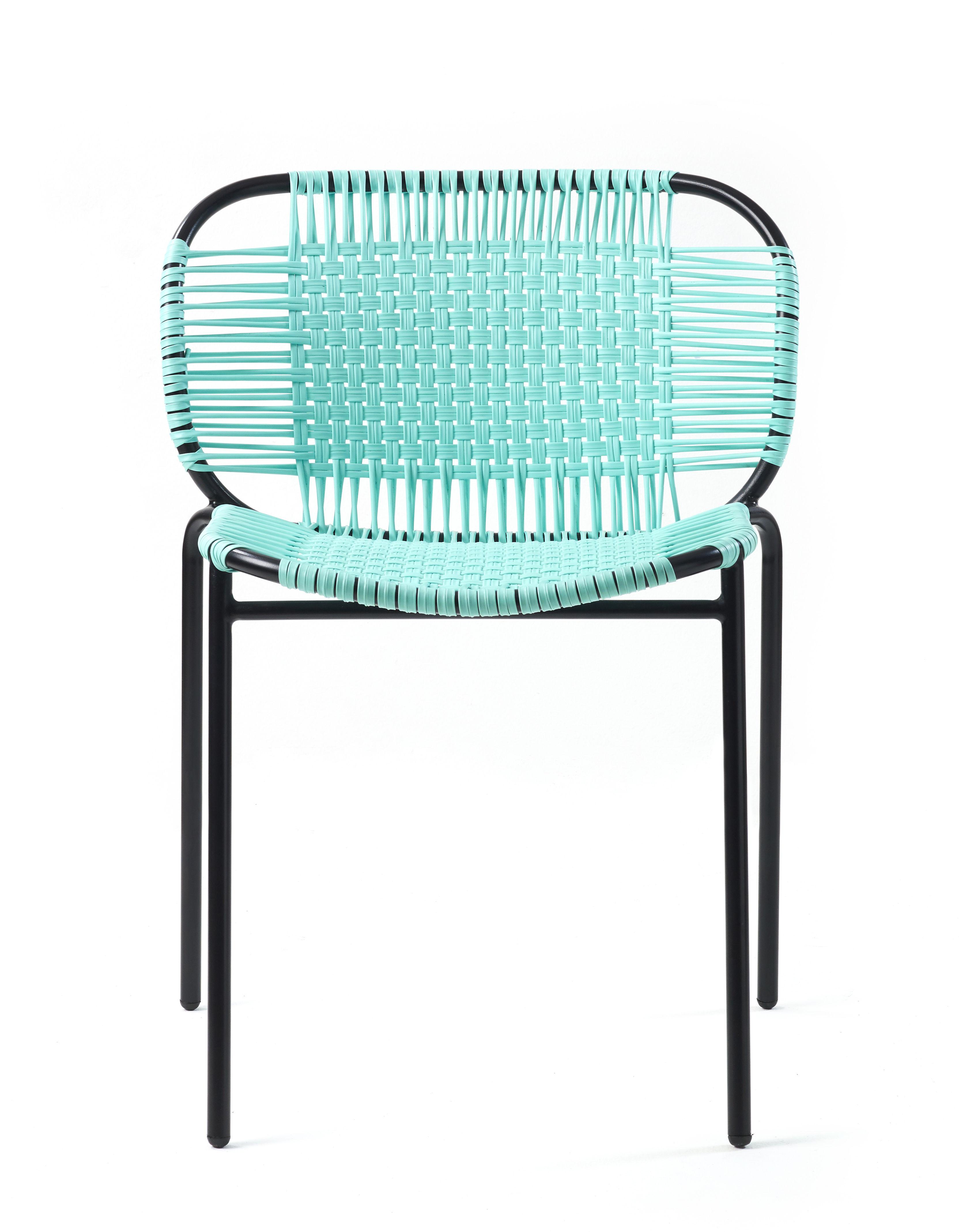 Mobilier - Chaises, fauteuils de salle à manger - Chaise empilable Cielo / Fils PVC - ames - Menthe / Structure noire - Acier laqué, Fils en PVC recyclé