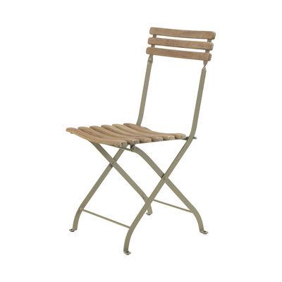 Mobilier - Chaises, fauteuils de salle à manger - Chaise pliante Laren / Teck patiné - Ethimo - Teck décapé / Gris Boue - Acier thermolaqué, Teck décapé FSC
