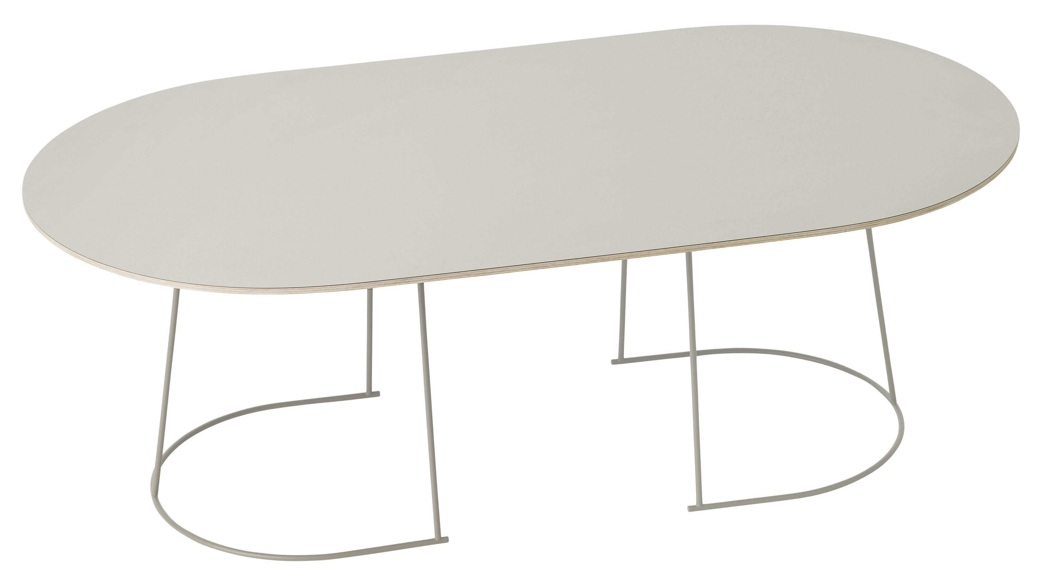Möbel - Nachttische - Airy Couchtisch / groß - 120 x 65 cm - Muuto - Weiß  / Fußgestell weiß - bemalter Stahl, Furnier, Press-Spanplatte