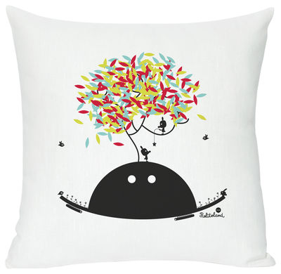Decoration - Children's Home Accessories - Spring wishes Cushion - Screen printed cushion made of linen & cotton by Domestic - Spring wishes - White, black & multicoloured - Cotton, Linen