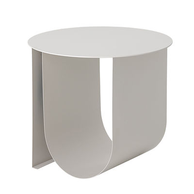 Furniture - Coffee Tables - Cher End table - / Ø 43 cm - Metal / Built-in magazine holder by Bloomingville - Light grey - Lacquered iron