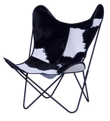 Chaise AA Butterfly / Peau de vache - AA-New Design blanc,noir en cuir
