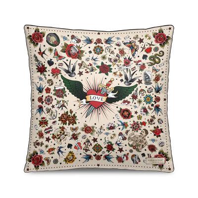 Dekoration - Kissen - Tatoo Kissen / Velours  - 45 x 45 cm - PÔDEVACHE - Love Tatto / Beige - Polyesterfaser, Velours