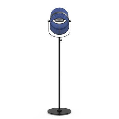 Illuminazione - Lampade da terra - Lamada da terra solare La Lampe Paris LED - / Senza filo di Maiori - Blu reale / Base nera - alluminio verniciato, Tessuto