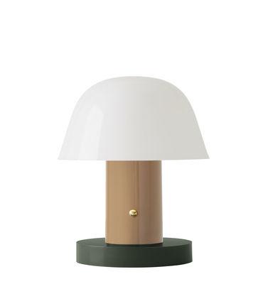 Leuchten - Tischleuchten - Setago  JH27 Lampe ohne Kabel / LED - by Jaime Hayon - &tradition - Nude-Beige / grüner Sockel - Geformtes Polycarbonat