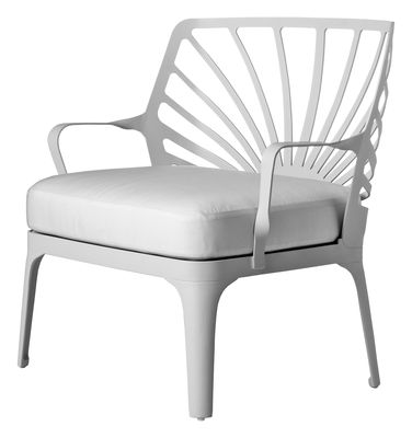 Furniture - Armchairs - Sunrise Low armchair by Driade - White - Fabric, Lacquered aluminium