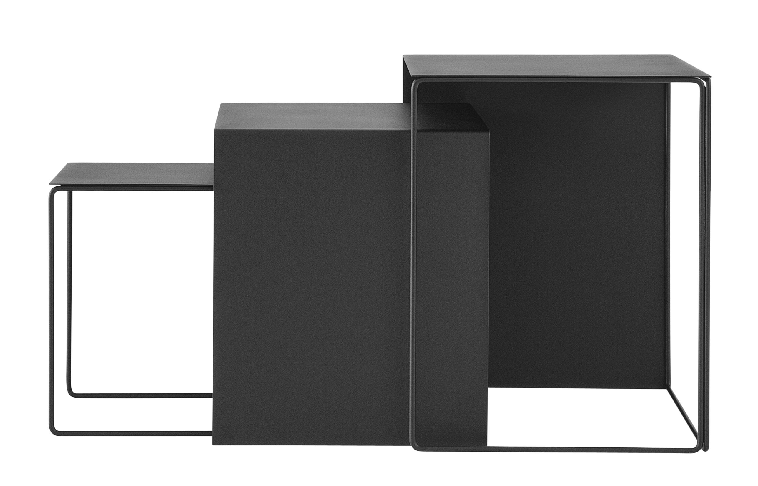 Furniture - Coffee Tables - Cluster Nested tables - Set of 3 nesting tables by Ferm Living - Black - Metal
