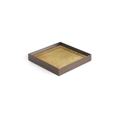 Image of Piano/vassoio Gold leaf - / Svuota-tasche - 16 x 16 cm - Metallo & vetro di Ethnicraft - Oro - Vetro
