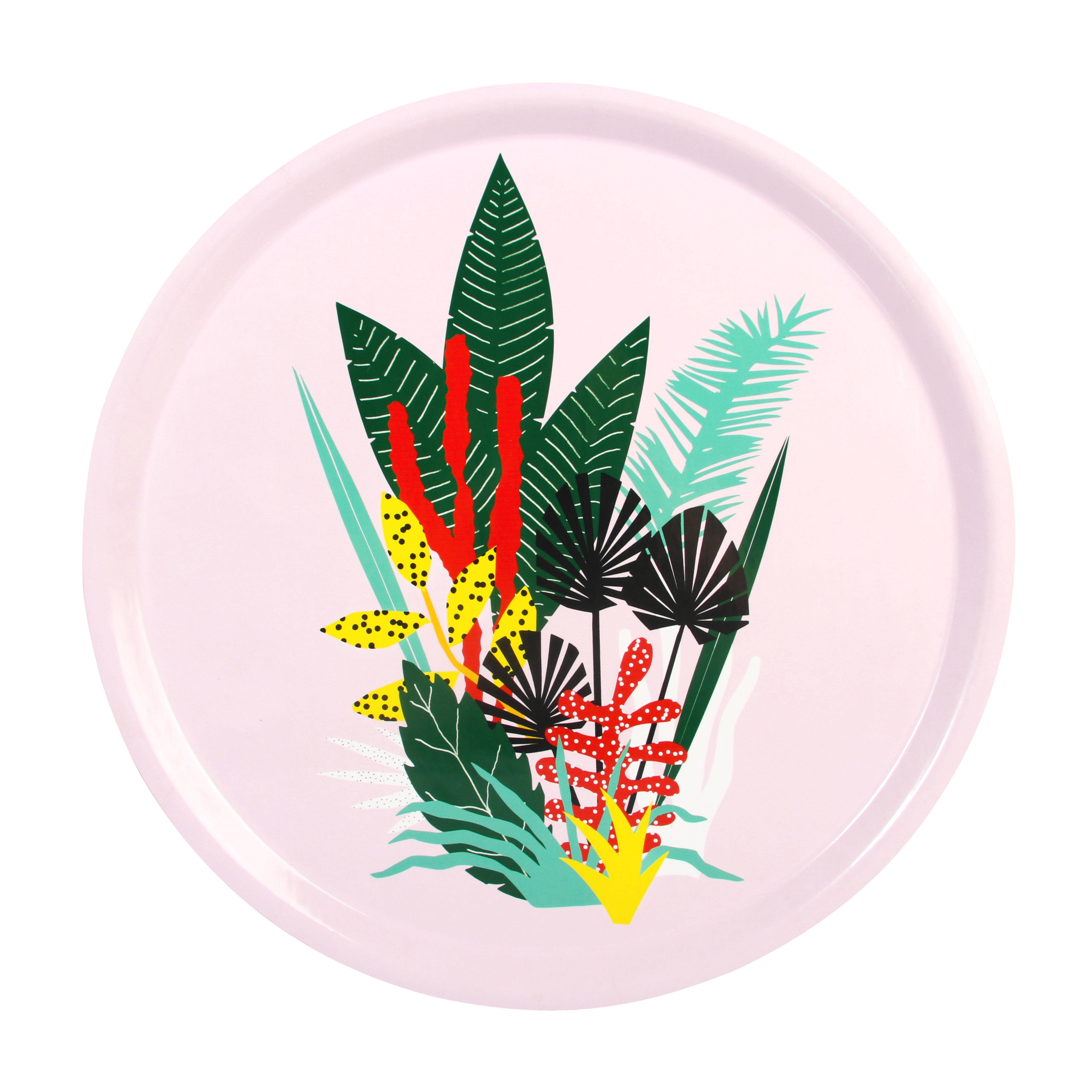 Arts de la table - Plateaux - Plateau Botanic / Mélamine - Ø 35 cm - & klevering - Fleurs multicolores/ Fond rose - Contreplaqué, Mélamine