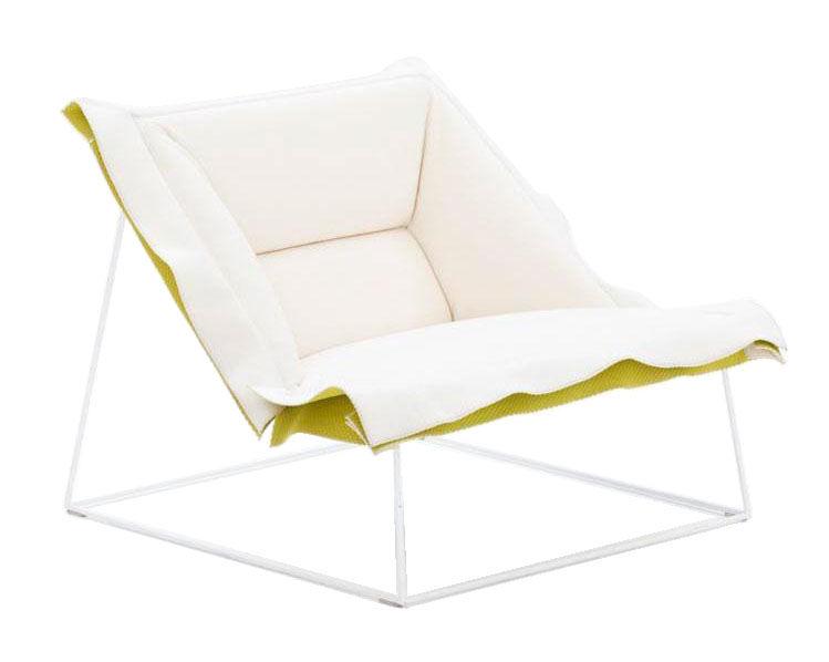 Arredamento - Mobili d'eccezione - Poltrona bassa Volant di Moroso - Tessuto bianco / Risvolto anice - Acciaio cromato, Cotone
