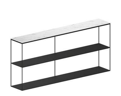 Arredamento - Scaffali e librerie - Scaffale Slim Marbre - / L 180 x H 83 cm di Zeus - Nero ramato / Marmo bianco - Acciaio verniciato epossidico, Marmo di Carrara