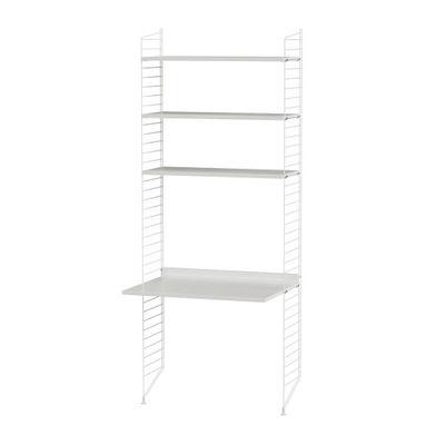 Möbel - Büromöbel - String® Schreibtisch / L 78 cm x H 200 cm - String Furniture - Weiß - lackierter Stahl, mitteldichte bemalte Holzfaserplatte