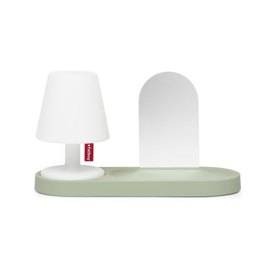 Furniture - Bookcases & Bookshelves - Edison the Petit Residence Shelf - / With mirror - For Edison the Petit II wireless lamp by Fatboy - Pastel green - ABS recouvert de caoutchouc, Glass