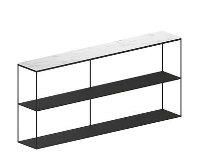 Furniture - Bookcases & Bookshelves - Slim Marbre Shelf - / L 180 x H 83 cm by Zeus - Copper black / White marble - Carrare marble, Epoxy painted steel