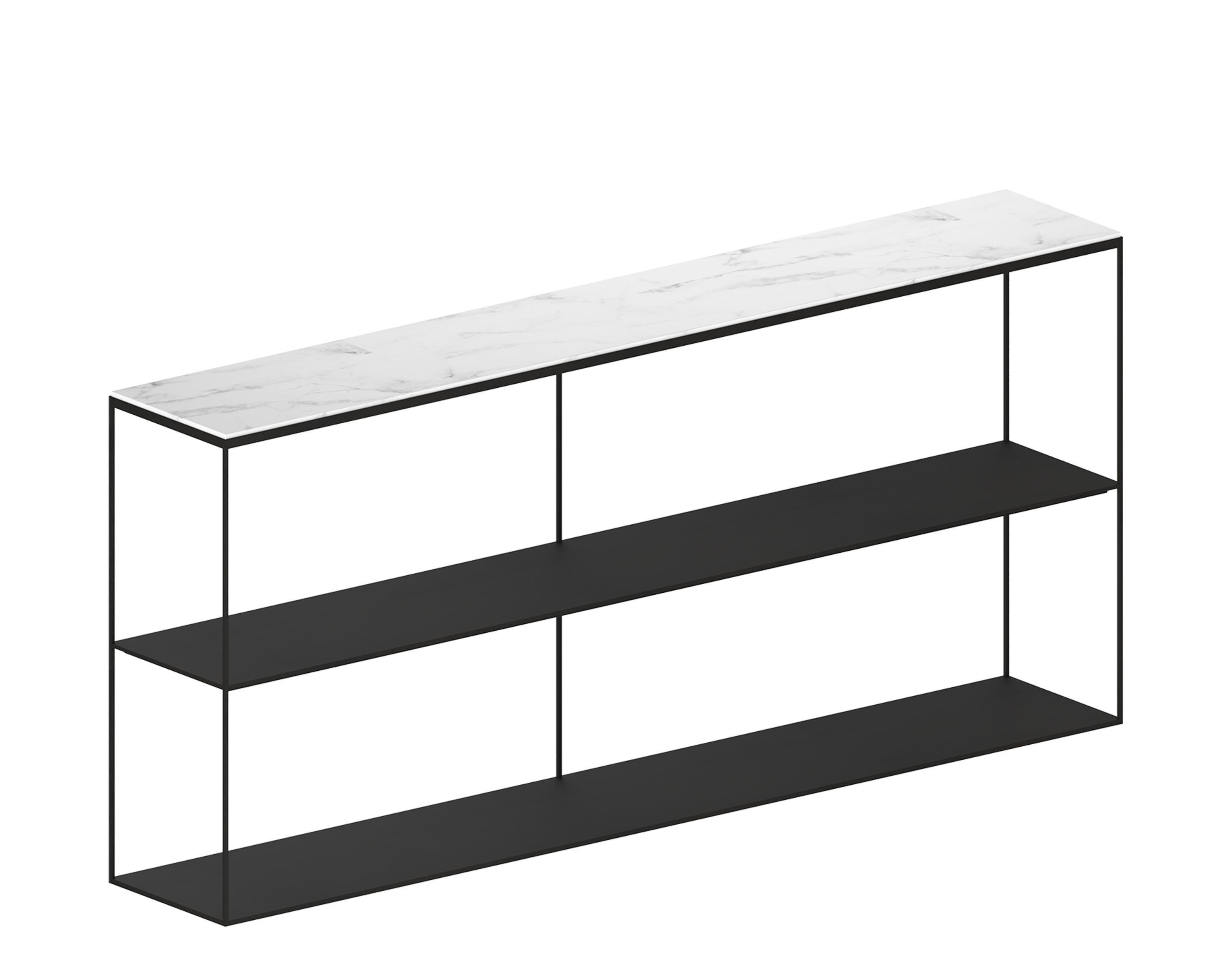 Furniture - Bookcases & Bookshelves - Slim Marbre Shelf - / L 180 x H 83 cm by Zeus - Copper black / White marble - Carrare marble, Epoxy painted steel