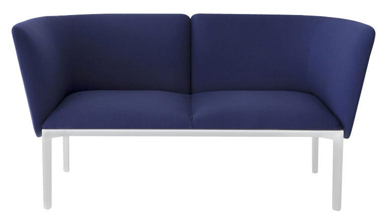 Möbel - Sofas - ADD Sofa / 2-Sitzer - L 140 cm - Lapalma - Dunkelblau / Gestell weiß - Kvadrat-Gewebe, lackiertes Metall, Polyurethan-Schaum