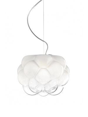 Illuminazione - Lampadari - Sospensione Cloudy - LED / Ø 26 cm di Fabbian - Ø 26 cm / Bianco e Trasparente - Alluminio, vetro soffiato
