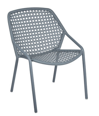 Decoration - Home Accessories - Croisette Stackable armchair - / Woven plastic by Fermob - Storm grey - Aluminium, Synthetic fibre