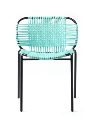 Furniture - Chairs - Cielo Stacking chair - / PVC threads by ames - Mint / Black structure - Lacquered steel, Recycled PVC threads