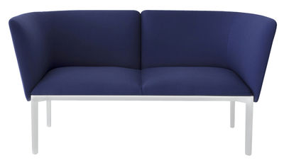 Furniture - Sofas - ADD Straight sofa - 2 seats - L 140 cm by Lapalma - Dark Blue / White structure - Kvadrat fabric, Lacquered metal, Polyurethane foam