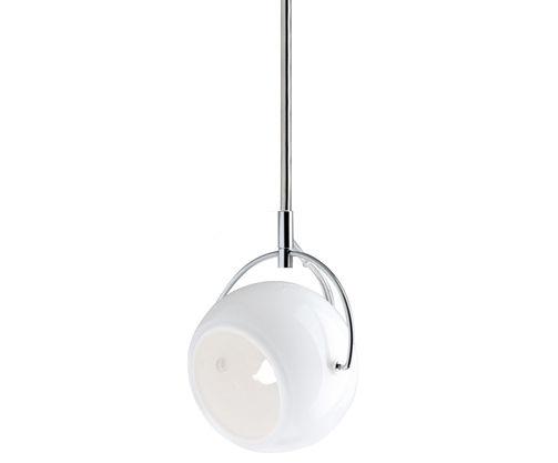 Luminaire - Suspensions - Suspension Beluga / verre blanc - Ø 9 cm - Fabbian - Verre blanc - Métal chromé, Verre soufflé