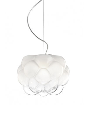 Luminaire - Suspensions - Suspension Cloudy LED / Ø 26 cm - Fabbian - Ø 26 cm / Blanc & transparent - Aluminium, Verre soufflé