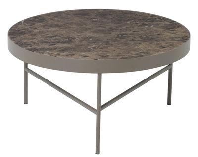 Table basse Marble / Large - Ø 70,5 x H 35 cm - Ferm Living marron en métal/pierre